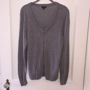 Talbots Grey Studded Zip Up Sweater Size Large